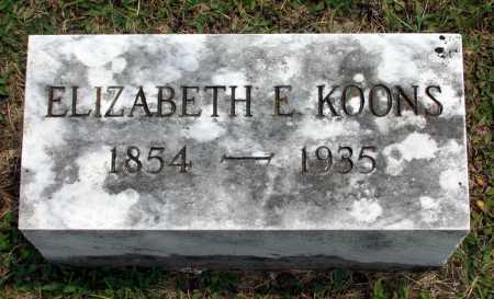KOONS, ELIZABETH E. - Juniata County, Pennsylvania   ELIZABETH E. KOONS - Pennsylvania Gravestone Photos