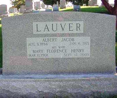 HENRY LAUVER, MARY FLORENCE - Juniata County, Pennsylvania | MARY FLORENCE HENRY LAUVER - Pennsylvania Gravestone Photos