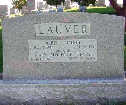 LAUVER, ALBERT JACOB - Juniata County, Pennsylvania | ALBERT JACOB LAUVER - Pennsylvania Gravestone Photos