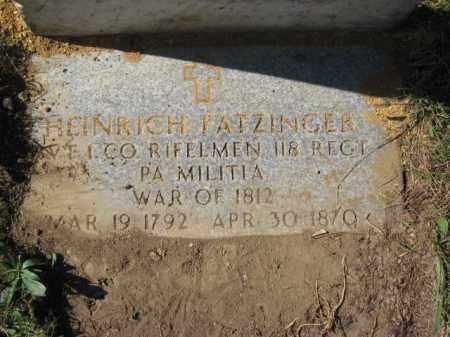 FATZINGER, HEINRICH - Lehigh County, Pennsylvania   HEINRICH FATZINGER - Pennsylvania Gravestone Photos
