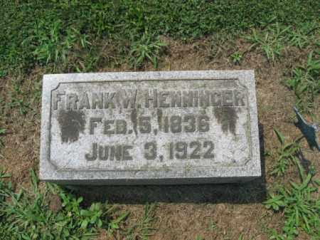 HENNINGER (CW), FRANK   W. - Lehigh County, Pennsylvania | FRANK   W. HENNINGER (CW) - Pennsylvania Gravestone Photos