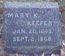 KEEFER, MARY - Lycoming County, Pennsylvania   MARY KEEFER - Pennsylvania Gravestone Photos