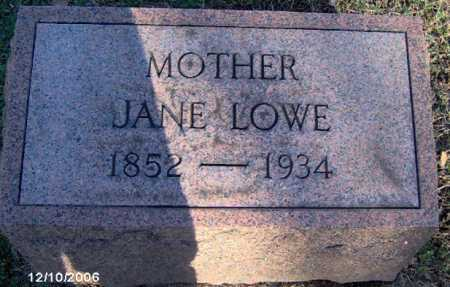 LOWE, JANE - Lycoming County, Pennsylvania   JANE LOWE - Pennsylvania Gravestone Photos