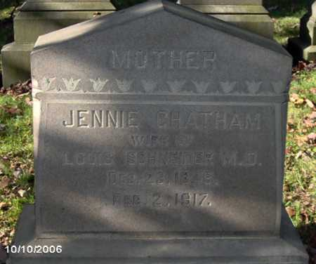 CHATHAM SCHNEIDER, JENNIE - Lycoming County, Pennsylvania | JENNIE CHATHAM SCHNEIDER - Pennsylvania Gravestone Photos