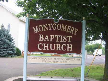 CEMETERY CHURCH SIGN, MONTGOMERY BAPTIST - Montgomery County, Pennsylvania | MONTGOMERY BAPTIST CEMETERY CHURCH SIGN - Pennsylvania Gravestone Photos