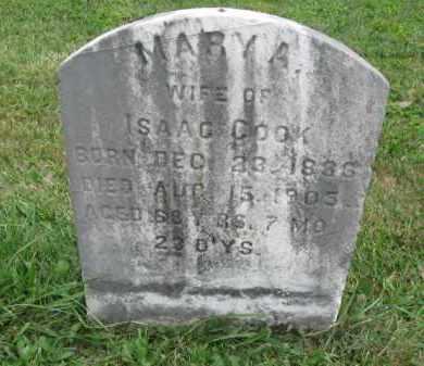 COOK, MARY A. - Montgomery County, Pennsylvania | MARY A. COOK - Pennsylvania Gravestone Photos