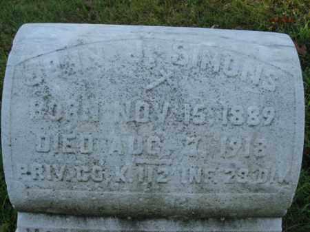 SIMONS, JOHN J. - Northampton County, Pennsylvania | JOHN J. SIMONS - Pennsylvania Gravestone Photos