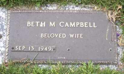 CAMPBELL, BETH M - Northumberland County, Pennsylvania | BETH M CAMPBELL - Pennsylvania Gravestone Photos