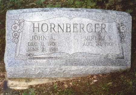 HORNBERGER, JOHN A - Northumberland County, Pennsylvania | JOHN A HORNBERGER - Pennsylvania Gravestone Photos