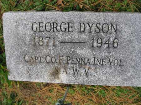 DYSON  (SAW), GEORGE - Schuylkill County, Pennsylvania   GEORGE DYSON  (SAW) - Pennsylvania Gravestone Photos