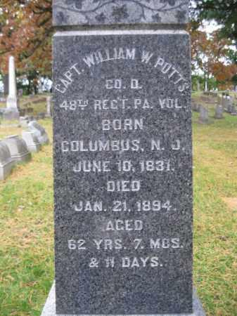 POTTS (CW), WILLIAM W. - Schuylkill County, Pennsylvania   WILLIAM W. POTTS (CW) - Pennsylvania Gravestone Photos