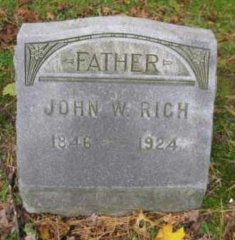 RICH, JOHN W. - Schuylkill County, Pennsylvania | JOHN W. RICH - Pennsylvania Gravestone Photos