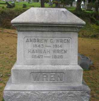 WREN (CW), ANDREW G. - Schuylkill County, Pennsylvania   ANDREW G. WREN (CW) - Pennsylvania Gravestone Photos
