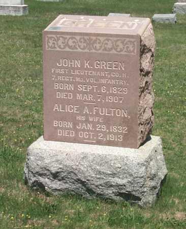 FULTON GREEN, ALICE A. - York County, Pennsylvania | ALICE A. FULTON GREEN - Pennsylvania Gravestone Photos