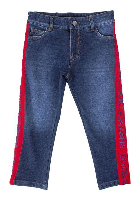 Jeans bambino con bande laterali DOLCE & GABBANA KIDS | Pantaloni | L4JPR1G7TRZS9050