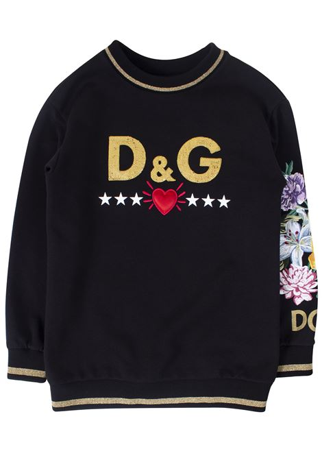Girl sweatshirt with embroidery DOLCE & GABBANA KIDS | Sweatshirts | L5JWS9G7TEIN0000