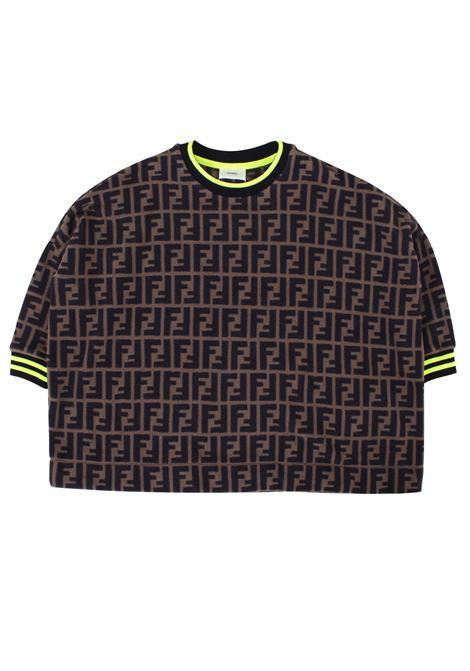 Girl sweatshirt with all-over logo FENDI KIDS | Sweatshirts | JFH086A8L5F0E0X