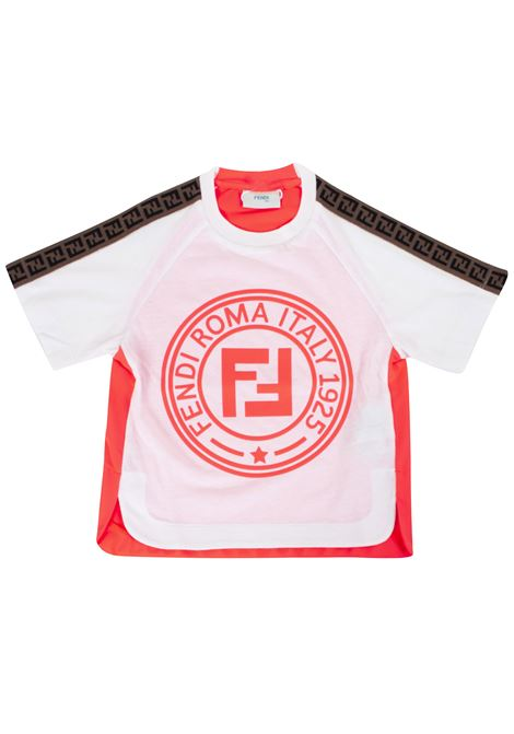 Girl's t-shirt with logoed bands FENDI KIDS | T-shirt | JFI1717AJ*F16WF
