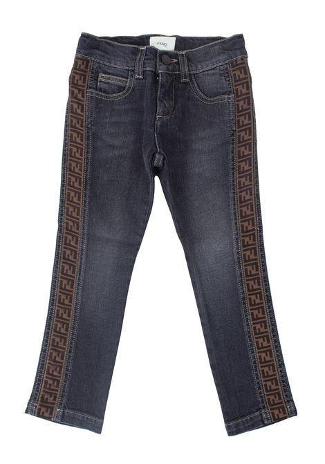 Child trousers with logoed bands FENDI KIDS | Denim | JMF213A8LATF0QA1