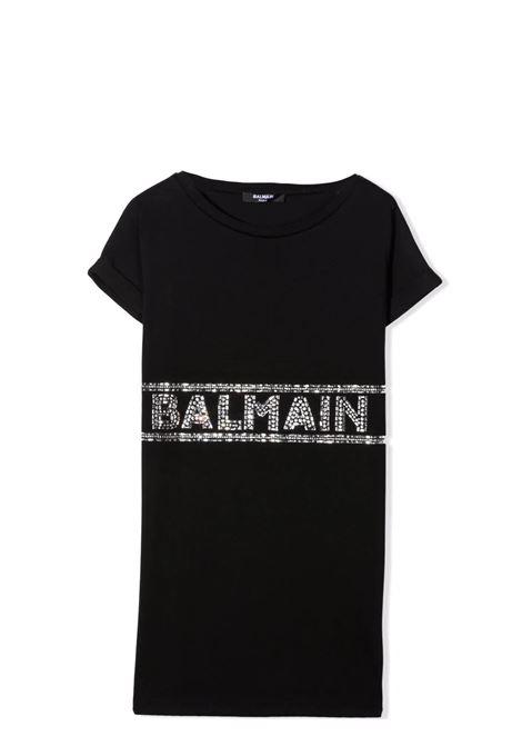 Abito modello T-shirt con strass BALMAIN KIDS | 6P1240 J0006930