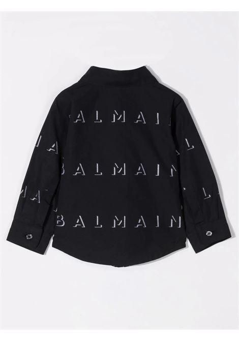 Black shirt with print BALMAIN KIDS | 6P5A10 P0039930BC