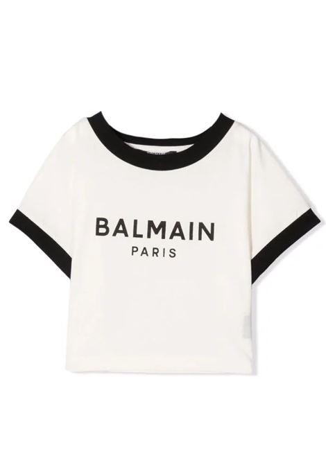T-shirt con stampa crop BALMAIN KIDS | 6P8071 Z0003112NE