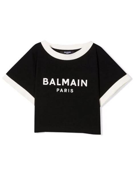 T-shirt with crop print BALMAIN KIDS | 6P8071 Z0003T930BG