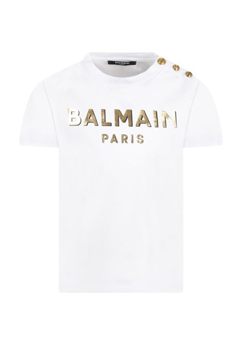 T-shirt with golden logo BALMAIN KIDS | 6P8641 Z0003100OR