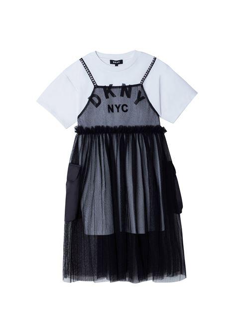 Two-tone dress with print DKNY KIDS | D3279809B