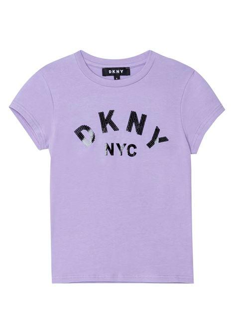 T-shirt con applicazione in paillettes DKNY KIDS | D35R58925