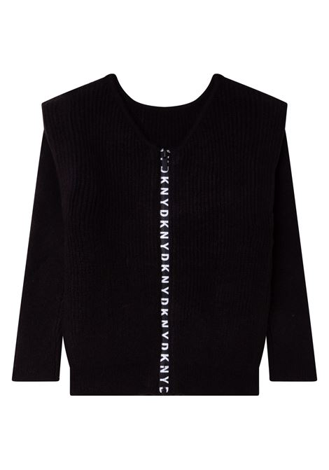 Cardigan con banda logo DKNY KIDS | D35R84T09B
