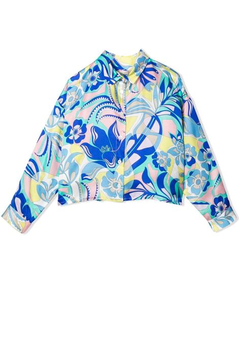 Little girl shirt with floral pattern EMILIO PUCCI | 9P5000 K0002780GL
