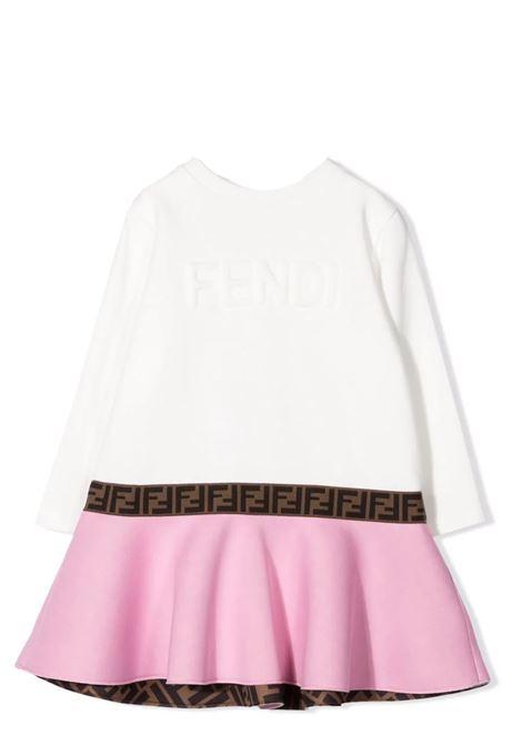 embossed logo flared dress FENDI KIDS | BFB379 AG3JF15Y