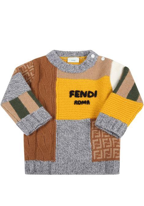 Maglione multicolor con logo nero FENDI KIDS | BUG081 AG1CF0ZA0