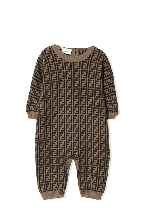 Newborn onesie with FF logo FENDI KIDS | BUL048 A3TEF0LMJ