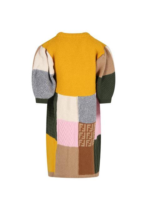 Multicolor dress with black logo FENDI KIDS | JFG076 AG1CF0ZA0