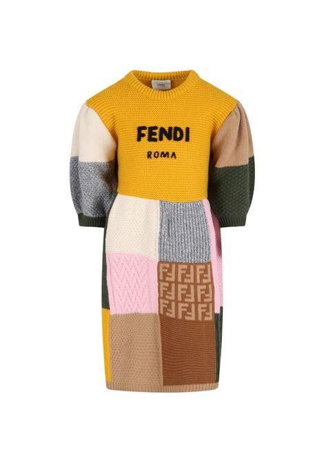 Vestito multicolor con logo nero FENDI KIDS   JFG076 AG1CTF0ZA0