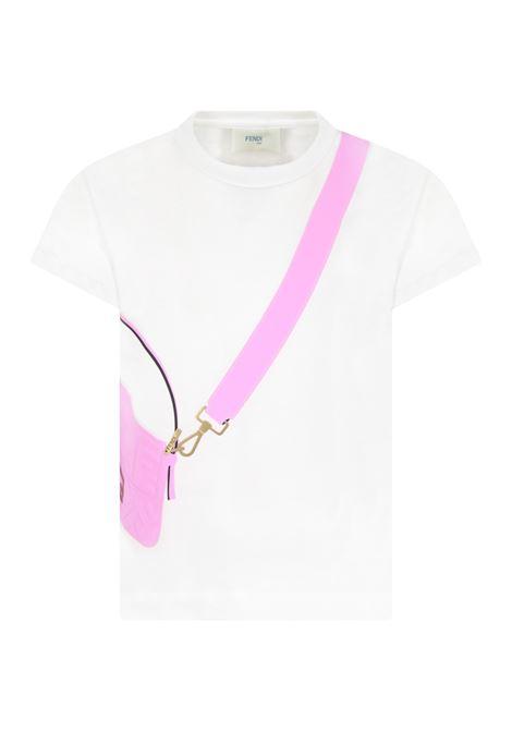 T-shirt bianca con borsa viola FENDI KIDS | JFI242 7AJF1064
