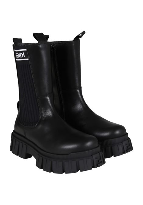 Black boots with white logo FENDI KIDS | JFR338 AC7JF07LV