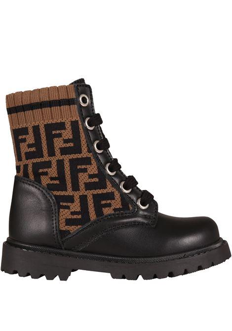 Black boots with double FF FENDI KIDS | JMR382 AEGPF0PMM