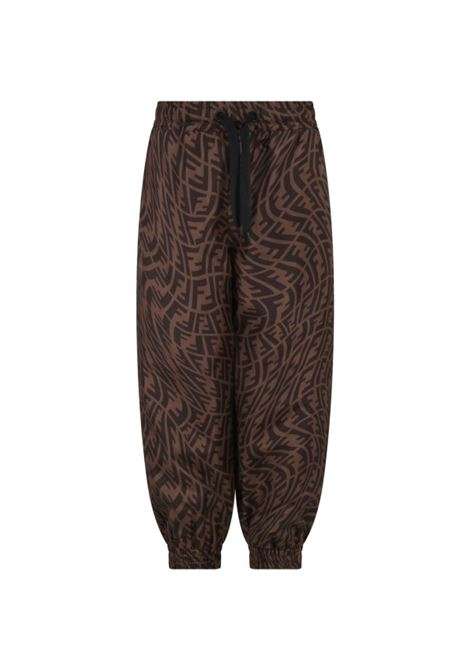 Brown trousers with logo FENDI KIDS | JUF050 AG1QF118W