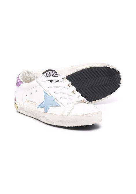 Sneakers con stella celeste e retro glitter viola GOLDEN GOOSE KIDS | GJF00102 F00162110637