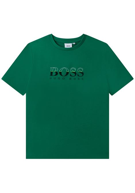 T-shirt girocollo con stampa HUGO BOSS KIDS | J25L52712