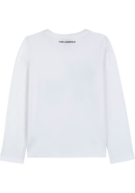 T-shirt con K/Ikonic di strass KARL LAGERFELD KIDS | Z1532910B