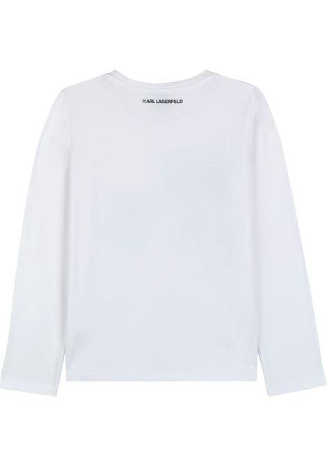T-shirt con K/Ikonic di strass KARL LAGERFELD KIDS | Z15329T10B