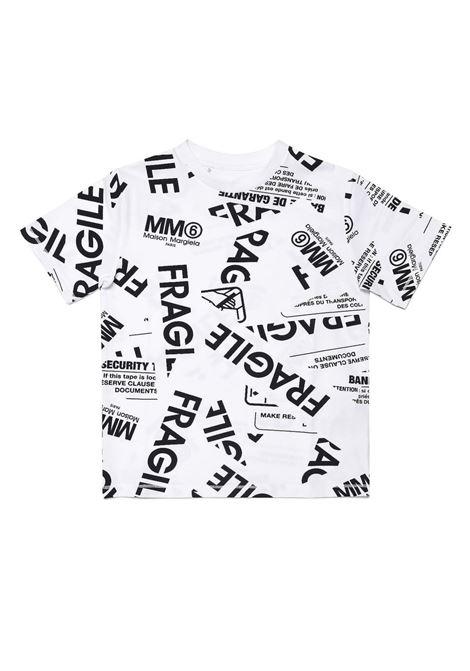 Fragile-print stretch-cotton T-shirt MM6 KIDS MAISON MARGIELA | M60040 MM012TM6100