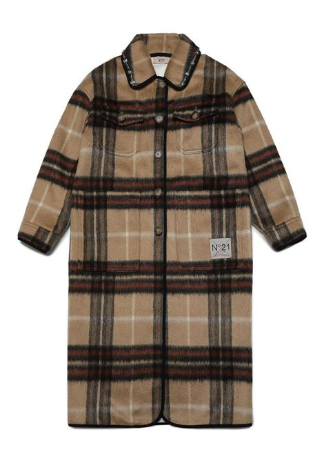 Single-breasted checked coat N°21 KIDS   N21151 N01580N711