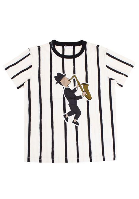 T-shirt bambino a righe con stampa DOLCE & GABBANA KIDS | T-shirt | L4JT4J G7JIQHA642
