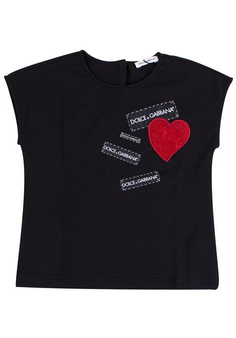 T-shirt bambina con patch DOLCE & GABBANA KIDS | T-shirt | L5JT9N G7MLPN000