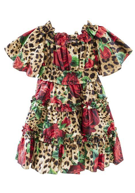 Little girl leopard dress with roses DOLCE & GABBANA KIDS | Dress | L51DG4 HS5CMHKIRS